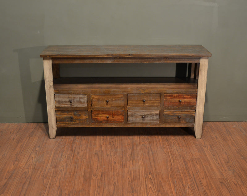 Rustic Solid Reclaimed Wood 8 Drawer Painted TV Stand Console Table - Crafters and Weavers