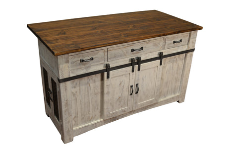 Greenview Kitchen Island - Distressed White - Crafters & Weavers - 1