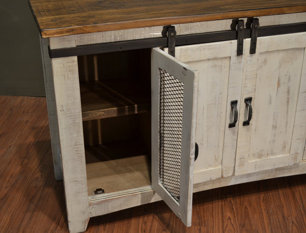 Greenview Sliding Door Distressed White Tv Stand 60 Inch