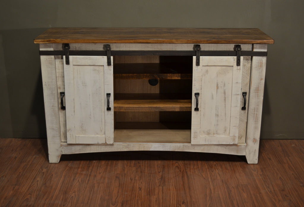 ... Greenview Sliding Door Distressed White TV Stand   60 Inch   Crafters U0026  Weavers   ...