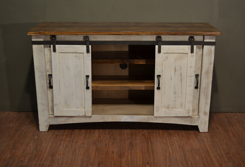 Farmhouse Style Industrial Chic White Wood Sliding Barn Door Tv Stand Crafters And Weavers