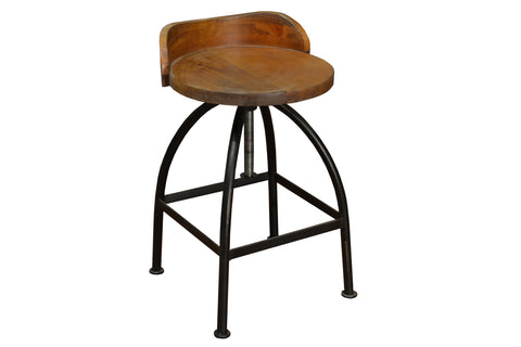 Ashland Low-Back Adjustable Height Bar Stool - Crafters & Weavers - 1
