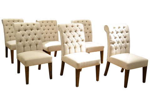 Set of 6 White Linen Chesterfield Dining Chairs