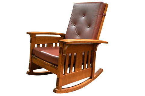 Amish Made Arts and Crafts Quarter Sawn Oak Rocking Chair - Leather