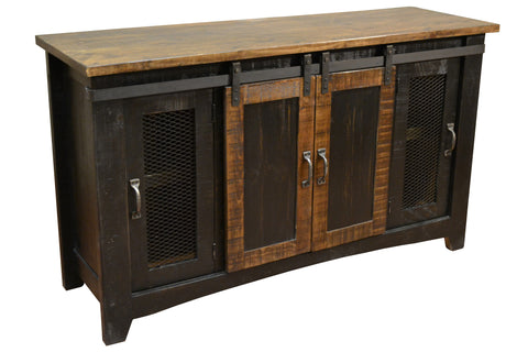 Greenview Sliding Door Distressed Black TV Stand - 60 inch