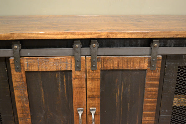 Greenview Sliding Door Distressed Black Tv Stand 60 Inch