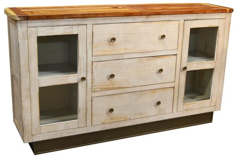 Rustic Style Solid Wood Sideboard - White