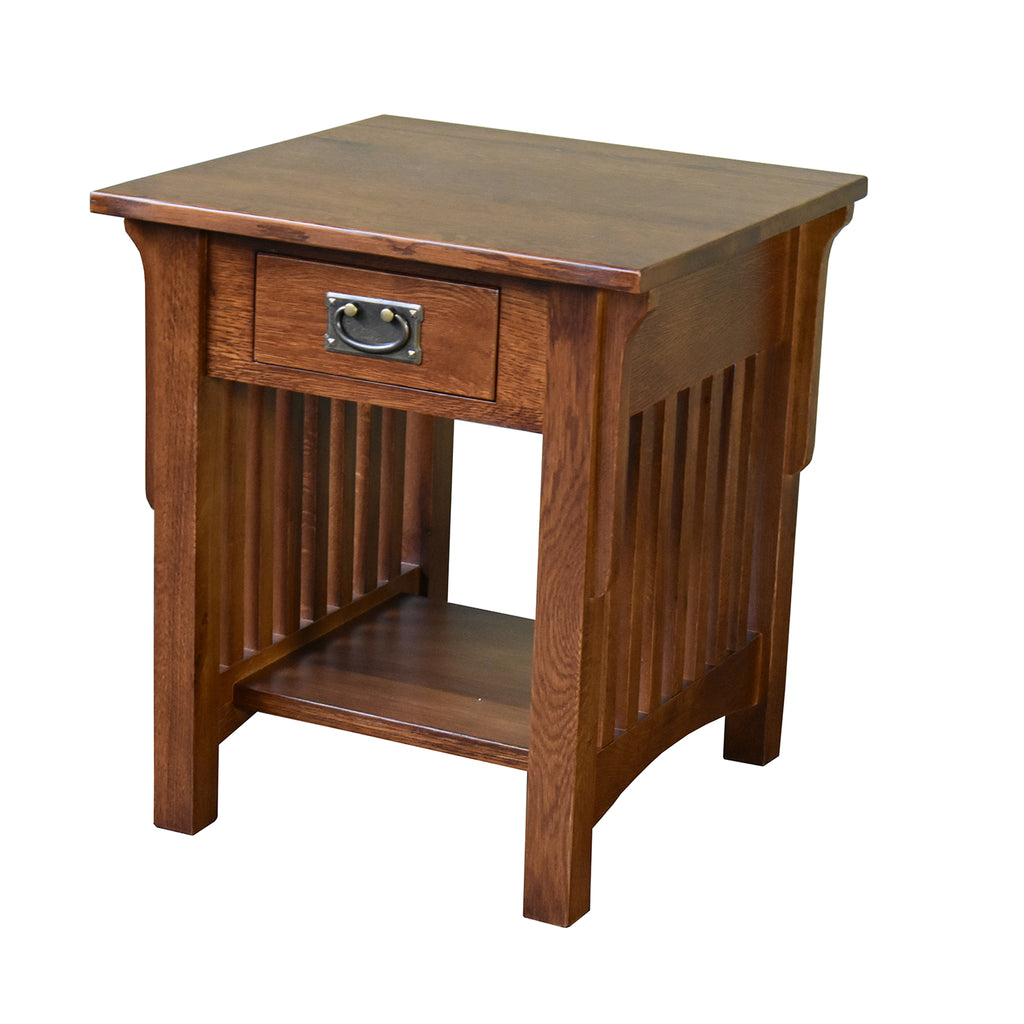 Mission 1 Drawer Crofter End Table - Golden Brown (GB1)
