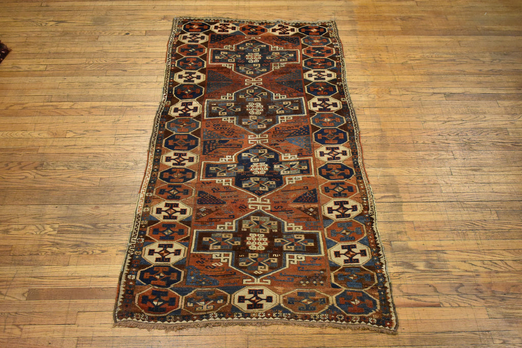 "Antique Caucassion Kazak / Oriental Rug 3'9"" x 7'2"""