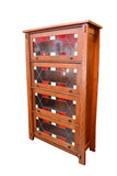 Arts and Crafts Mission Quarter Sawn White Oak Barrister Bookcase Leaded Glass - Crafters & Weavers - 1