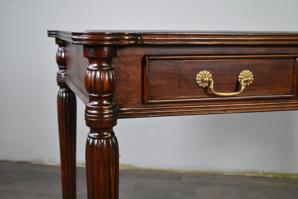 Victorian Style Solid Mahogany Wood Library Desk with Leather Top - Crafters and Weavers