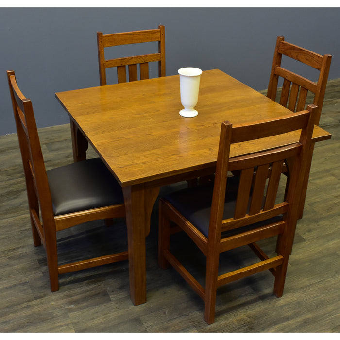 Mission Style White Oak Square Dining Table Set - (2 Colors Available)