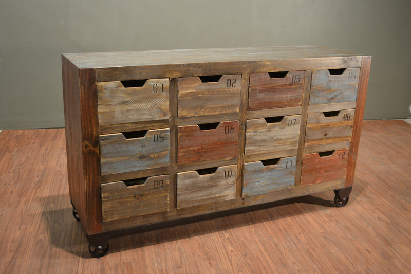 Reclaimed Wood Multicolor Numbered 12 Drawer Dresser