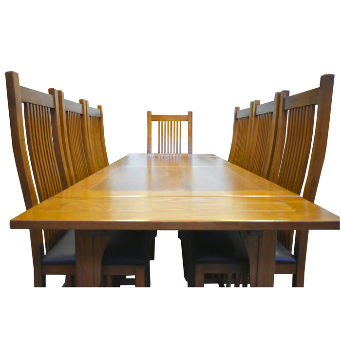 Mission Solid Oak Dining Table With 2 Leaves And 8 High Back Chairs Crafters And Weavers