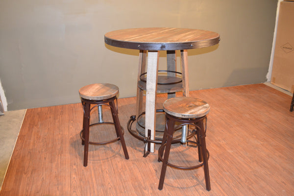 Rustic Style Solid Wood Pub Table Bistro Table With Foot