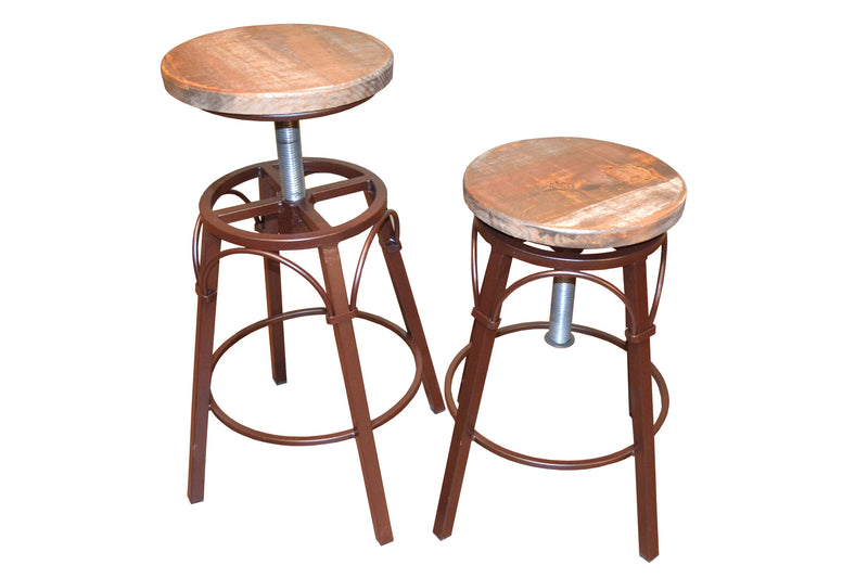"Granville Stationary Bar Stool - Rustic Brown/White - 30"" High"