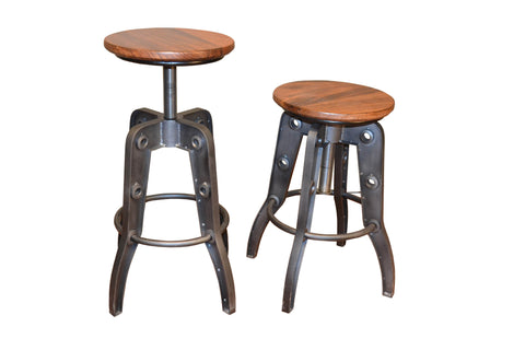 Granville Parota Adjustable Height Bar Stool - Crafters & Weavers - 1