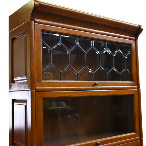 PREORDER Mission Style Oak Barrister Bookcase 5 Stack High with Leaded Glass (2 Colors Available) - Crafters and Weavers