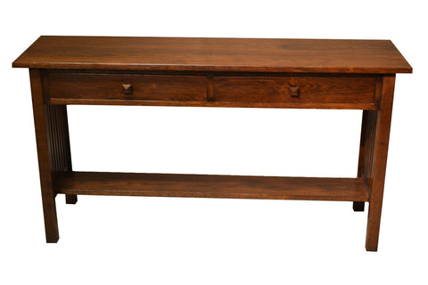 Mission Oak Console Table With 2 Drawers - Crafters & Weavers - 1