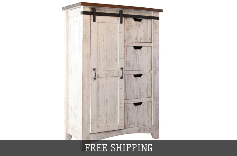 Greenview Barn Door Dresser - Distressed White