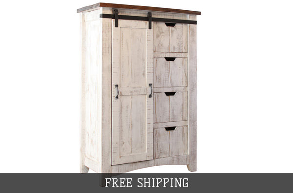 Greenview Barn Door Dresser With 4 Drawers And 4 Shelves Distressed