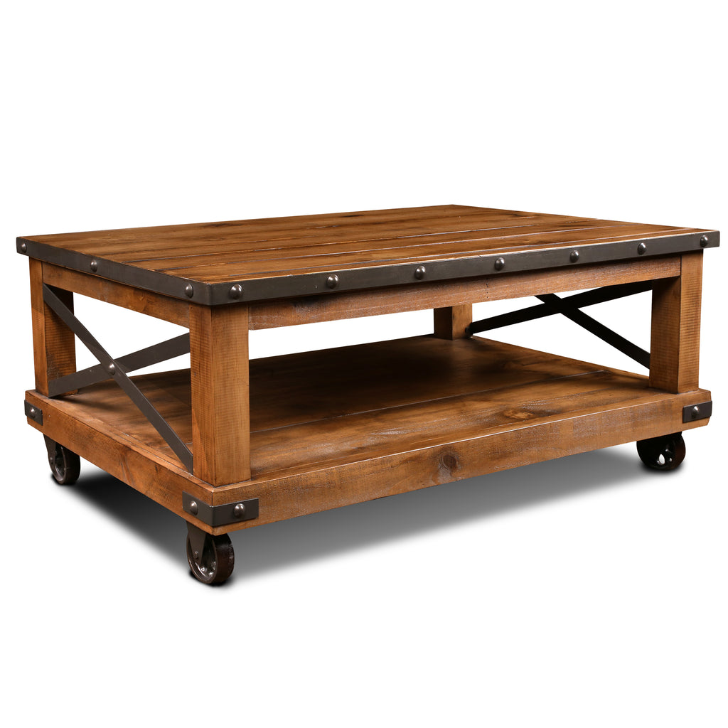 Larson Cross Bar Coffee Table with Caster Wheels