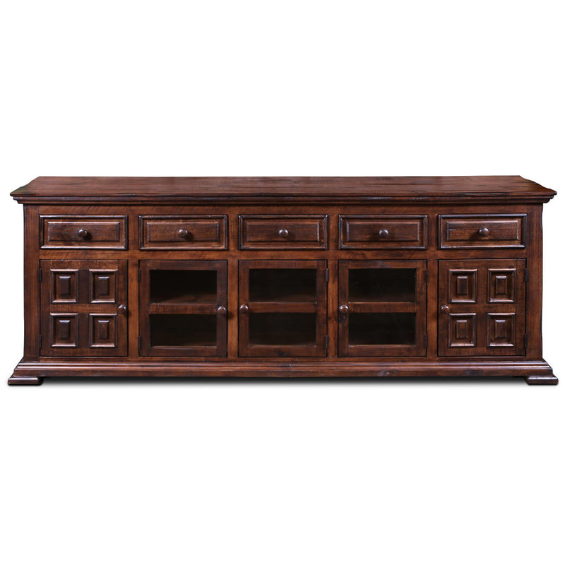 Keystone Panel Door TV Stand Rustic Brown - 83""