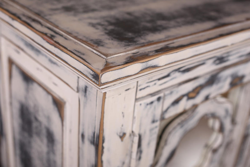 Keystone Distressed White Mirrored Sideboard
