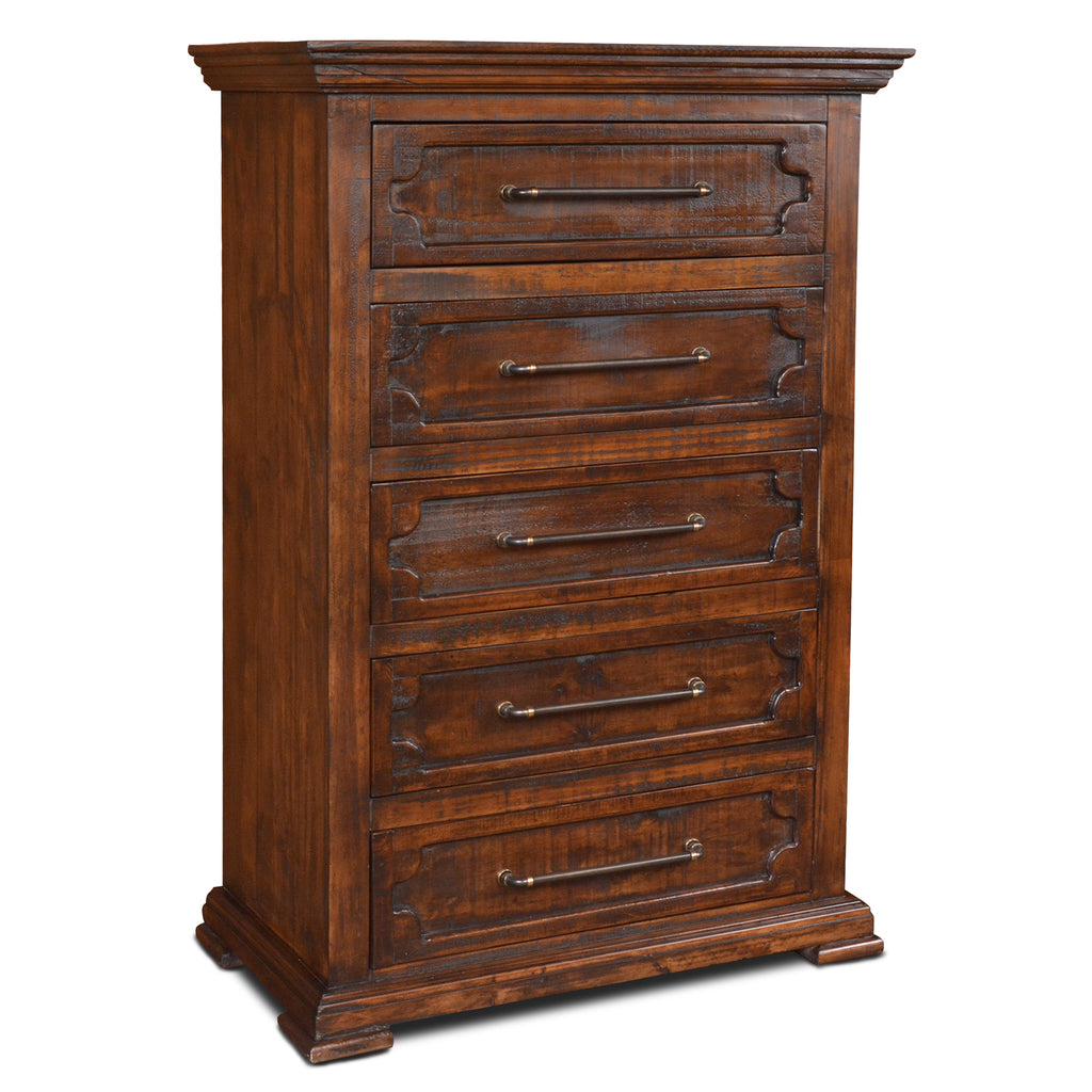 Peterson Rustic Modern 5 Drawer Highboy Dresser
