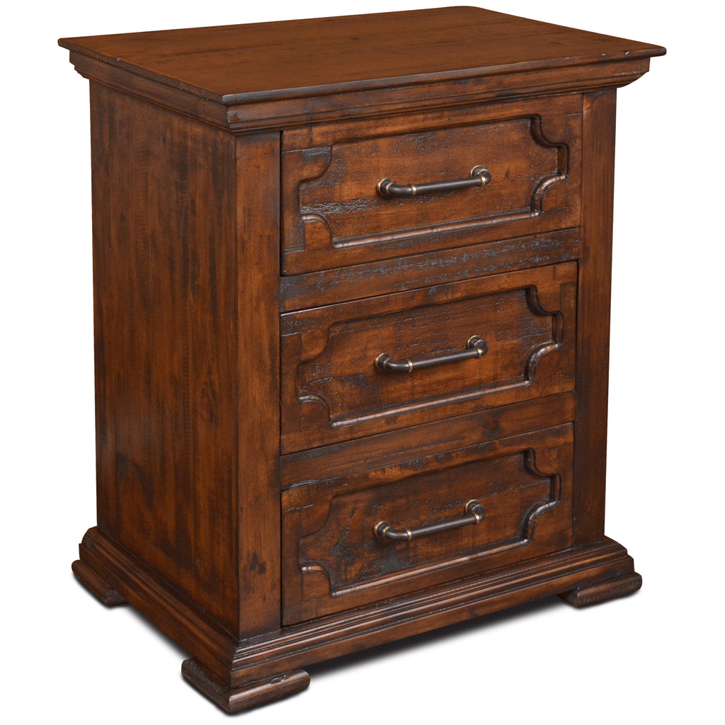 Peterson Rustic Modern 3 Drawer Nightstand
