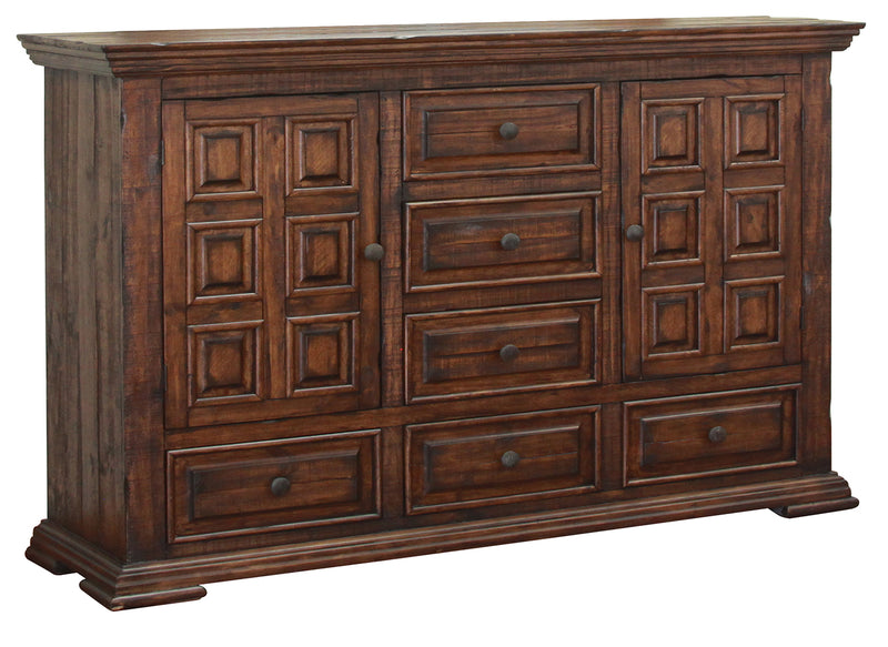 Greenview Carved Panel Dresser - Old World Brown