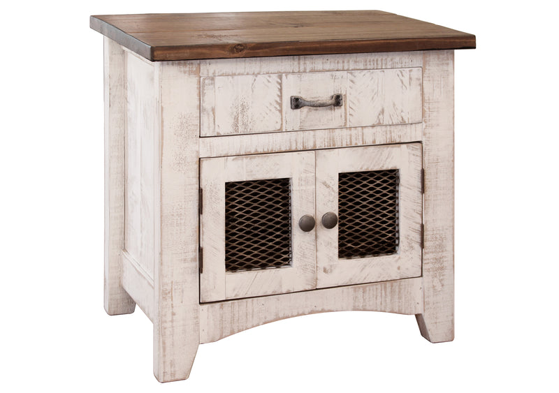Greenview 2 Door Nightstand - Distressed White