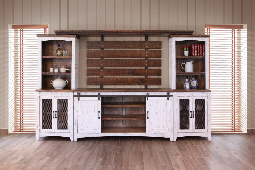 Farmhouse Style Industrial Chic White Wood Sliding Barn Door TV Stand - Crafters and Weavers