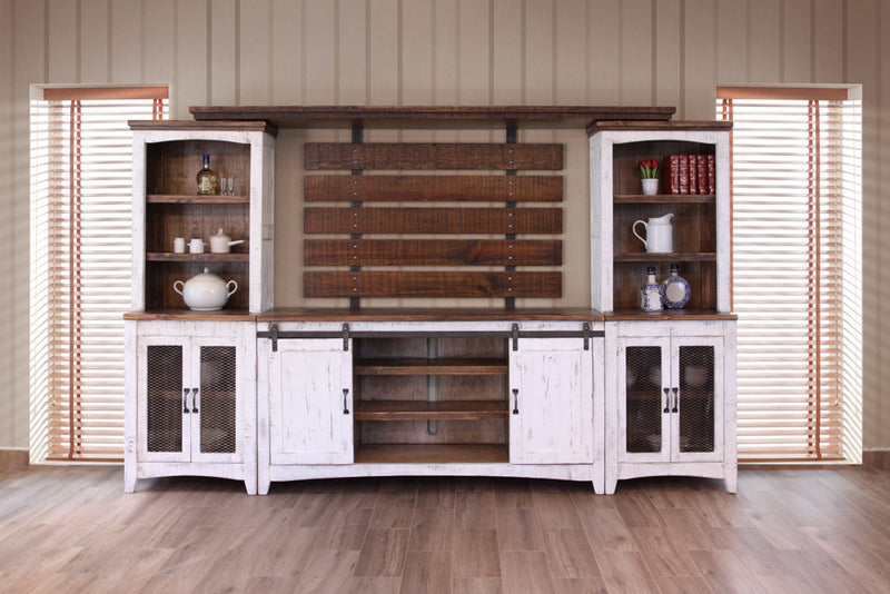Farmhouse Style Industrial Chic White Wood Sliding Barn
