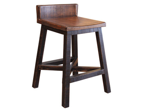 "Granville Stationary Bar Stool - Rustic Brown/Black - 24"" High"