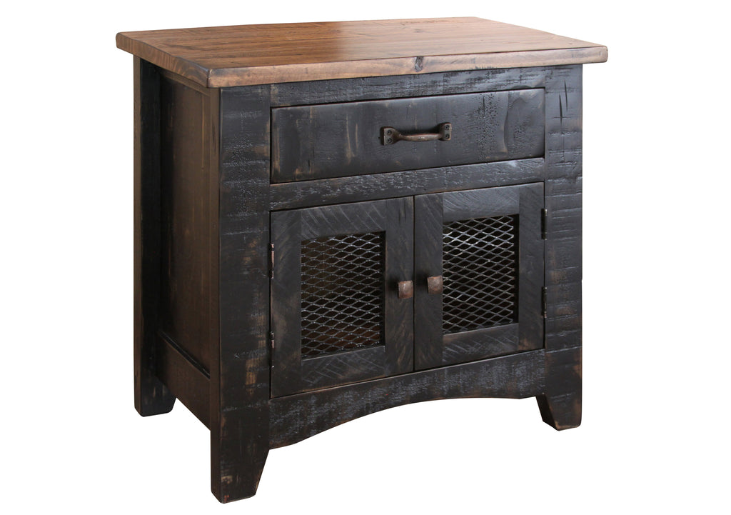 Greenview 2 Door Nightstand - Distressed Black