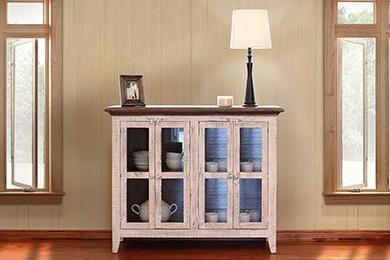 Greenview 4 Door Cabinet - Distressed White