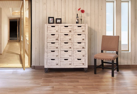 Bayshore 15 Drawer Countdown Console / Dresser - Distressed White