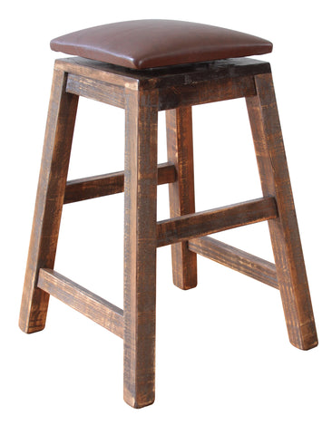 "Greenview Swivel Seat Rustic Bar Stool #967 - 24"" High"