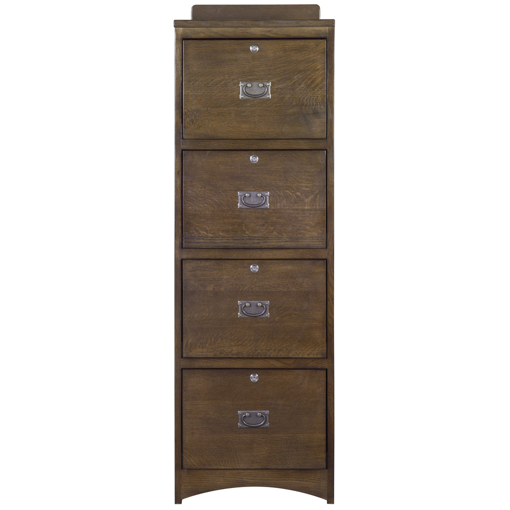 Mission Solid Oak 4 Drawer File Cabinet - Walnut