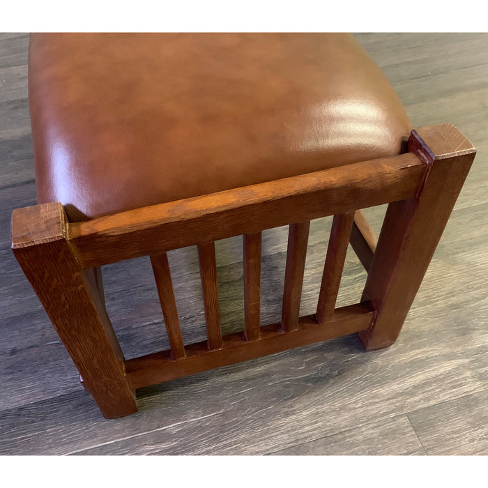 Mission Spindle Stool - Quarter Sawn Oak & Leather #1515