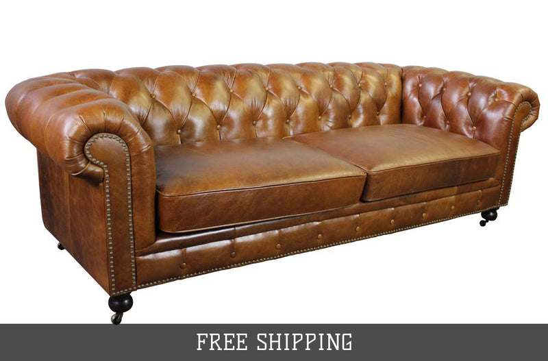 Larson Chesterfield Sofa - Light Brown Leather