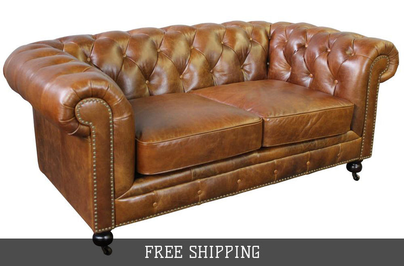 Larson Chesterfield Love Seat - Light Brown Leather