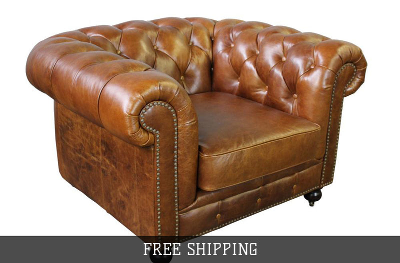 Larson Chesterfield Arm Chair- Light Brown Leather
