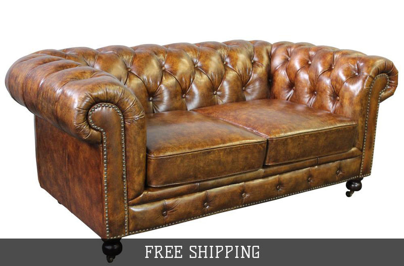 Larson Chesterfield Love Seat - Dark Brown Leather