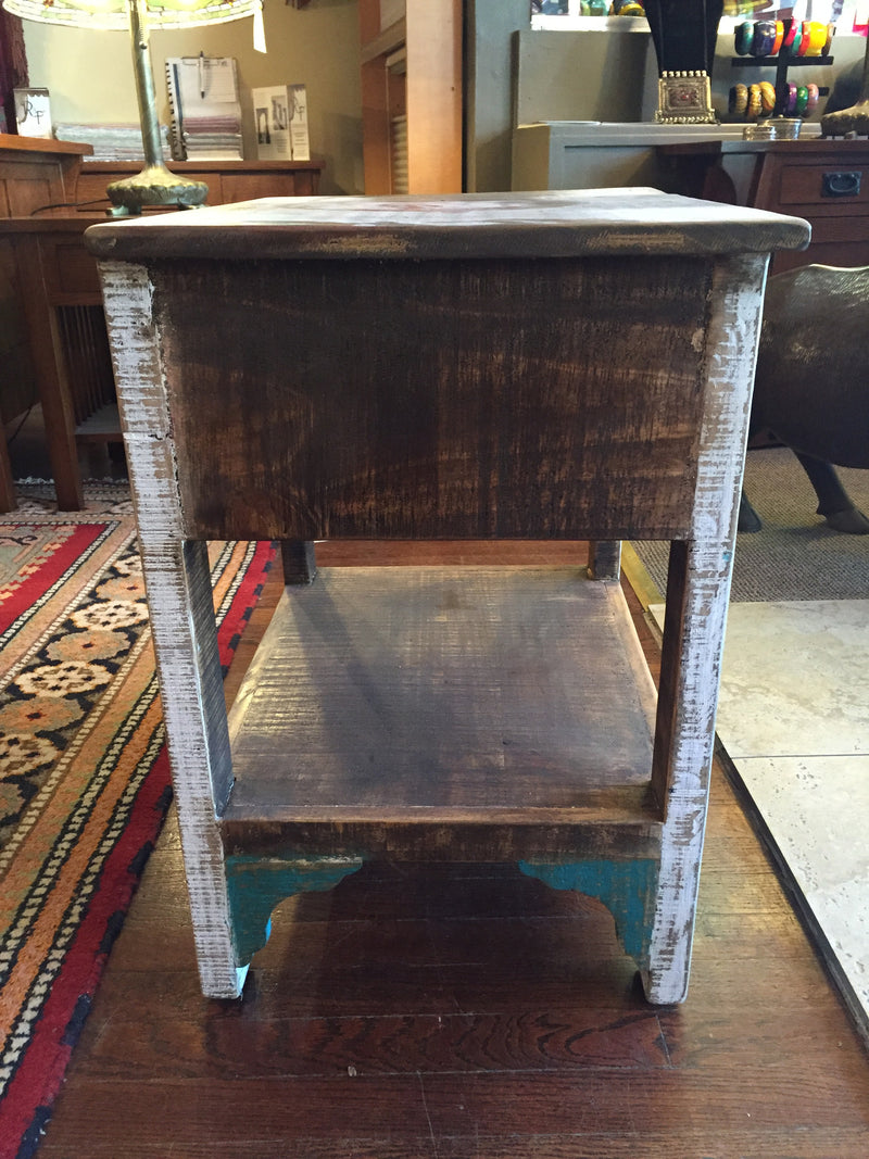 Reclaimed Wood Colorful 1 Drawer End Table Nightstand