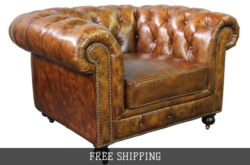 Larson Chesterfield Arm Chair- Dark Brown Leather