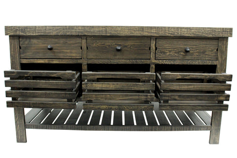 Caisse Kitchen Island - Distressed Black