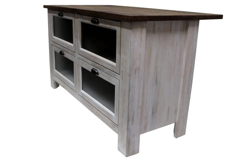 Emerson Kitchen Island - Distressed White