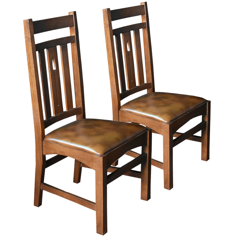 Set of 2 - Arts & Crafts / Mission Arrow Back Dining Side Chair